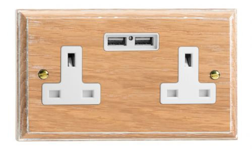 Varilight XK5U2LOW Kilnwood Limed Oak 2 Gang Double 13A Unswitched Plug Socket 2.1A USB